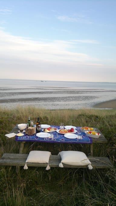 Blick von Düne ins Watt view from dune to moodflat of the North Sea