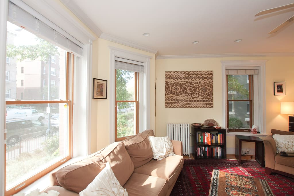 Curl up with a good book in the sun-filled bay window or just watch the world go by.