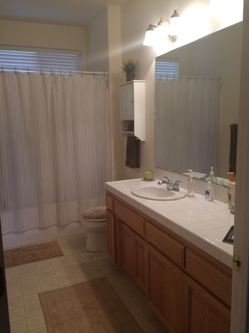 Clean,spacious bath with coffee maker