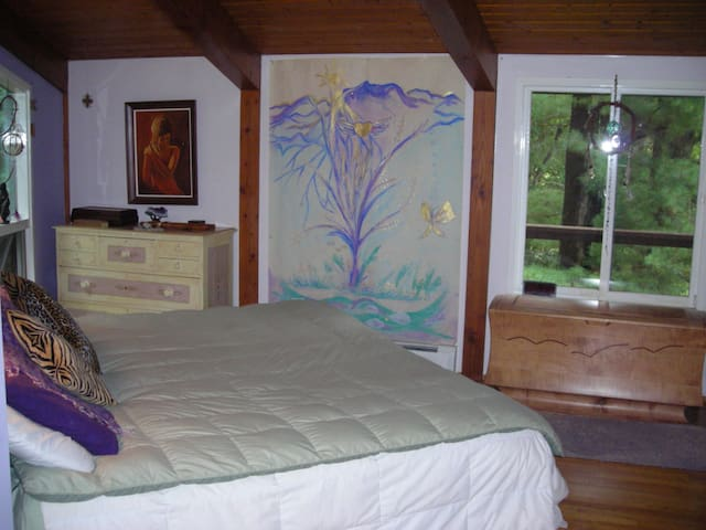 Bedroom view from the side of the bed
