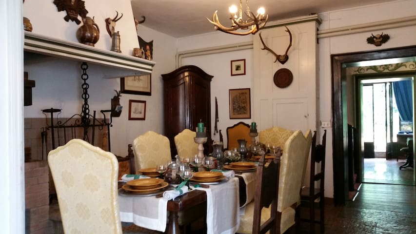the traditional dining room with fireplace