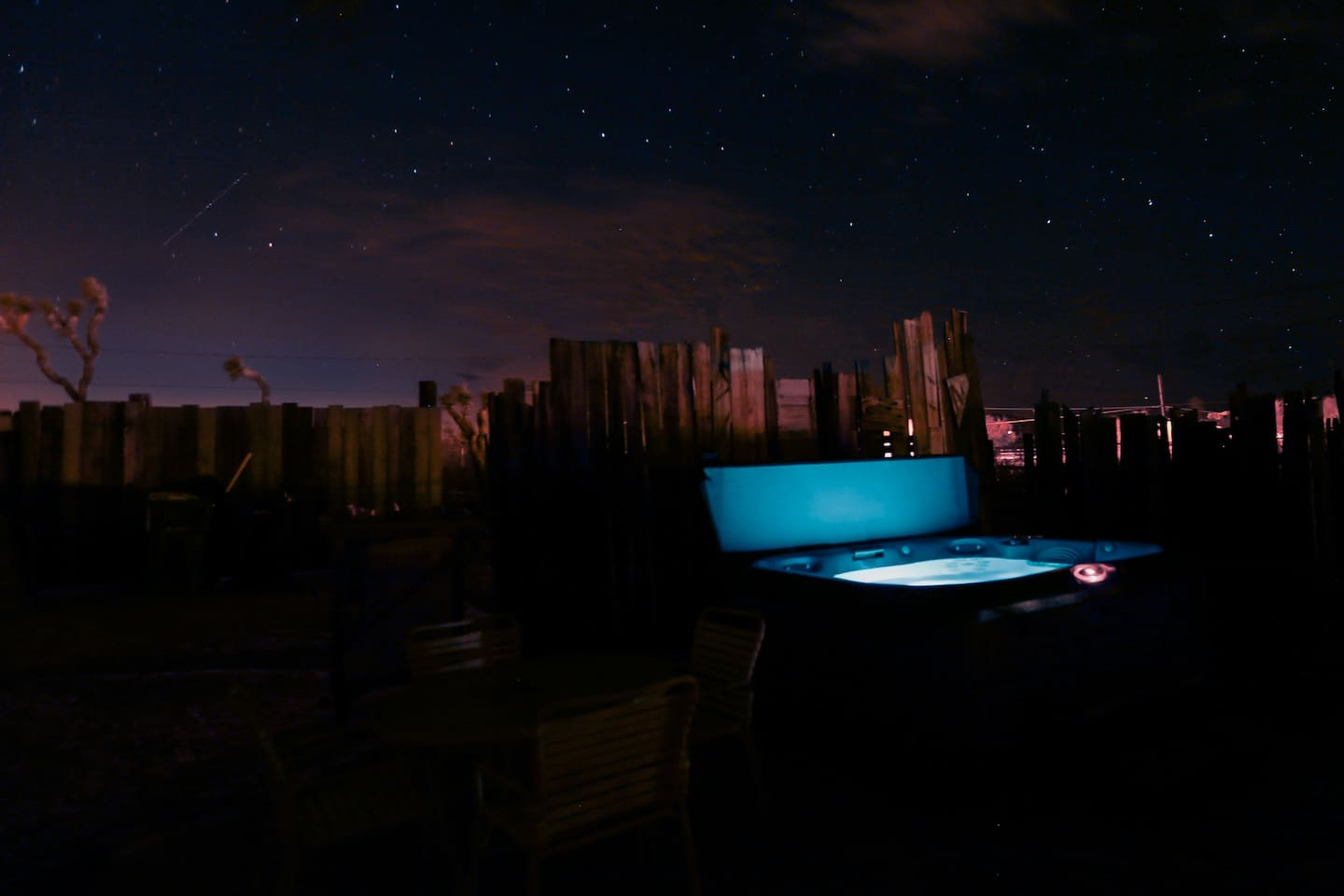 Enjoy starry views from the Jacuzzi at night