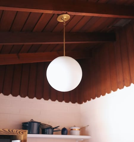 Schoolhouse electric lighting in the Kitchen