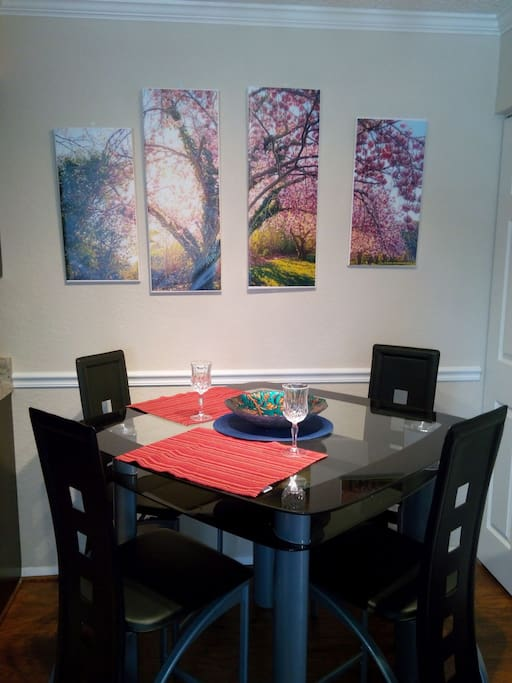 Dining room table  with frosted glass, waiting for you!