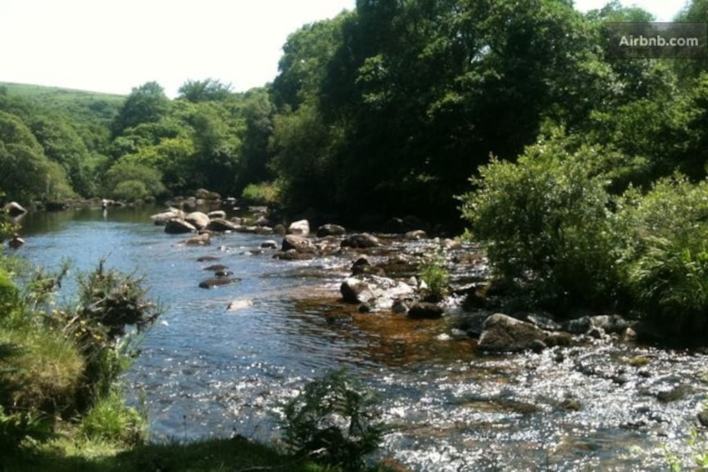 The river Dart runs through the town and onto Dartmoor