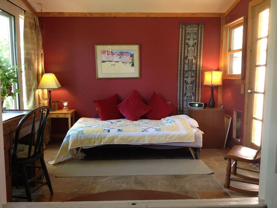 The cozy sunroom