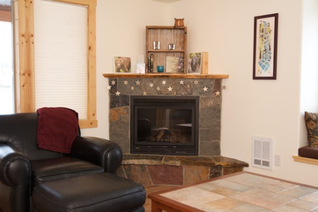 Cuddle up with a mug of cocoa near the gas fireplace.
