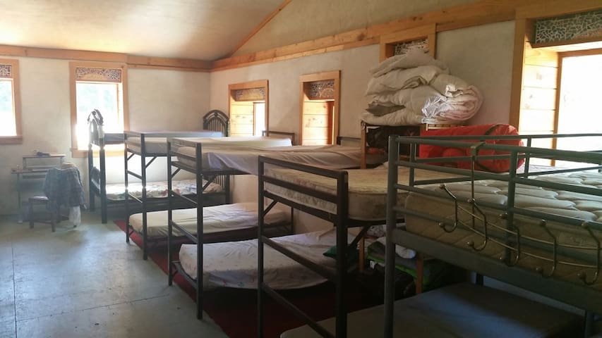 Bed in Dormitory with your bedroll
