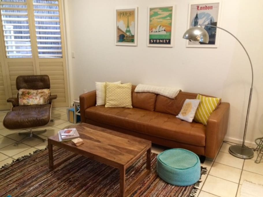 Lounge area - super comfortable sofa and leather arm chair!