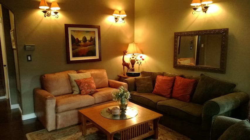 Relax in comfortable living room. Internet & Stereo.   Smart TV, no cable/local TV - but w/ Netflix or Hulu account, can watch your fav movies.