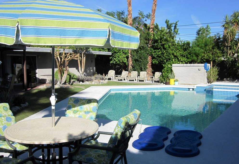 Pool Side Dining! Sunny Backyard with Large Pool, Jacuzzi, Sun Deck, Fruit Trees