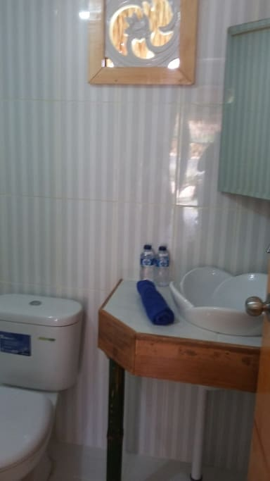 Western style bathroom with hot water rain showers