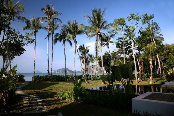 Luscious tropical garden in front of villa, on the beach!