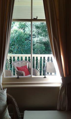 guest balcony seen through your room window.
