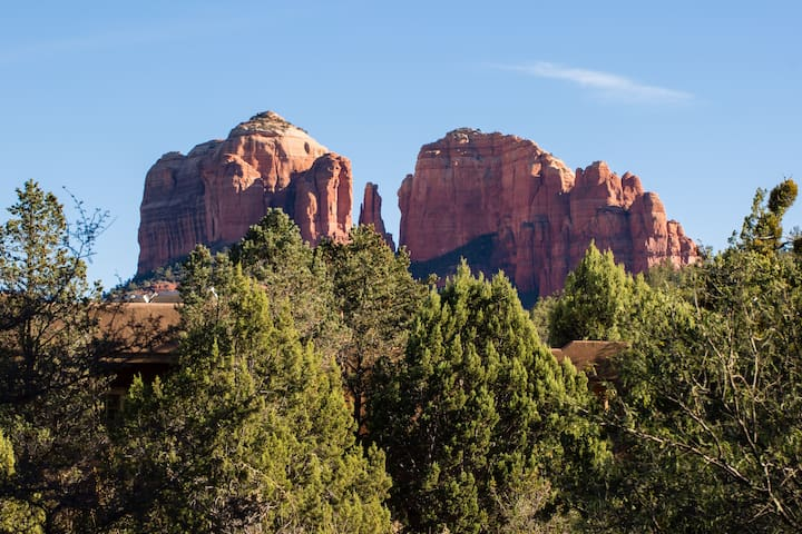 Views of Cathedral Rock from backyard of cabin. Rising and setting sun are never to be forgotten.