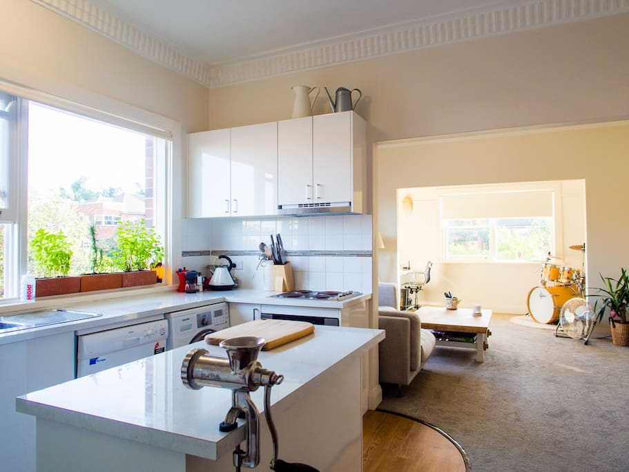 Well equipped kitchen with island unit.