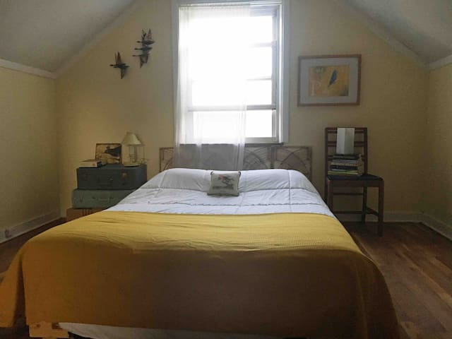 Your double bed in the upstairs 2nd floor half-story. Note: your bed is low to the floor