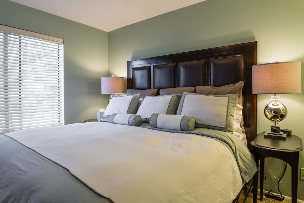 King bed with quality linens