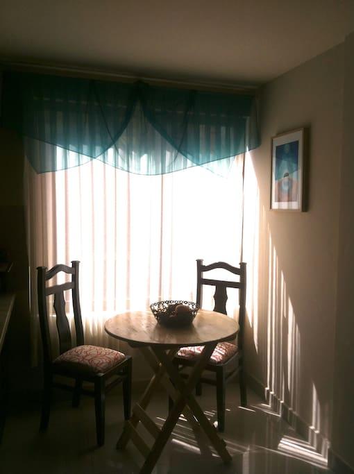 The kitchen breakfast area.