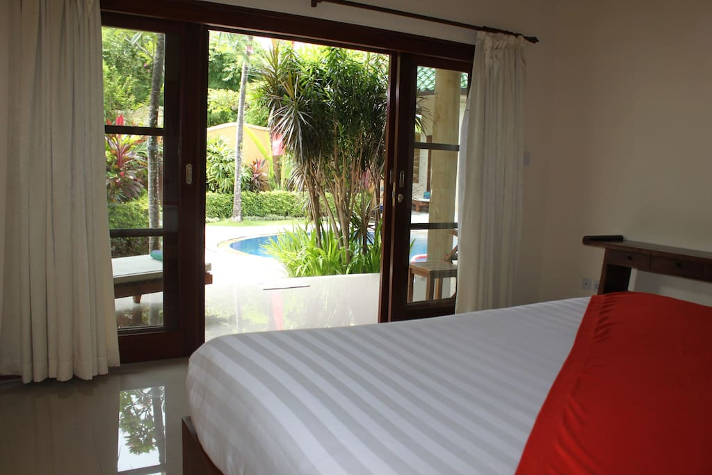 View from bedroom to the pool