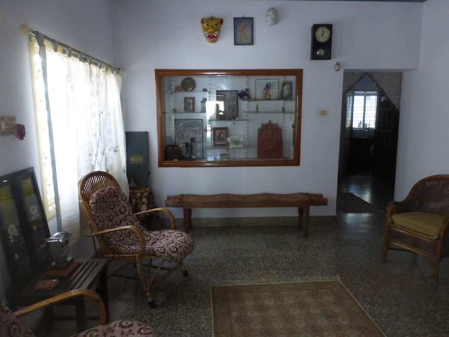 we have plenty of shared living space on two floors with lots of art from around India