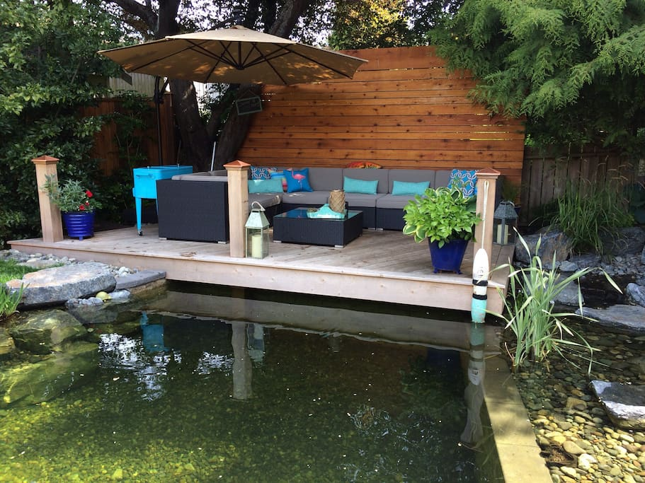 Natural swim pond & dock for lazy  days in Victoria year round.
