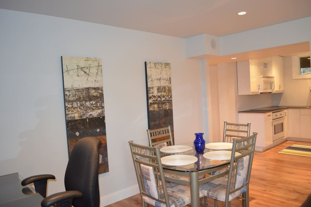 Spacious suite with room to spread out. 9 foot ceilings, modern lighting, fresh renovation.