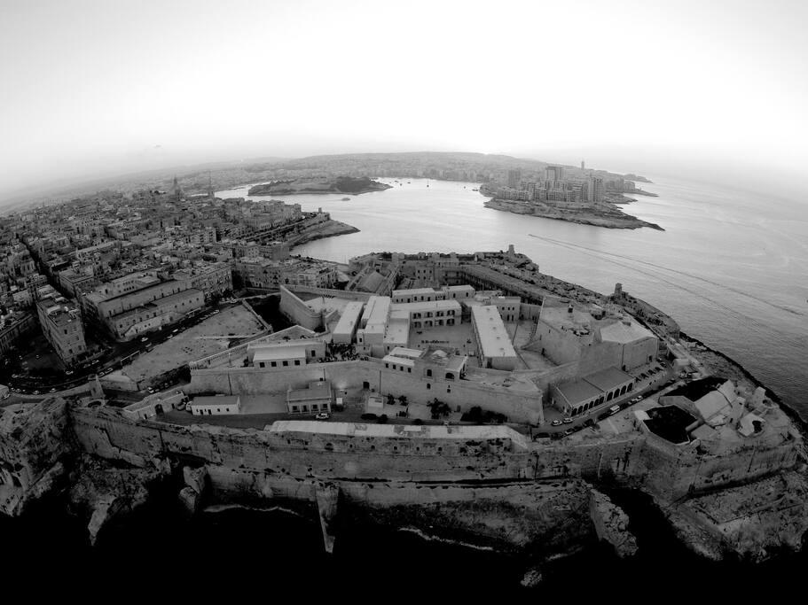 Aerial shot of Valletta City