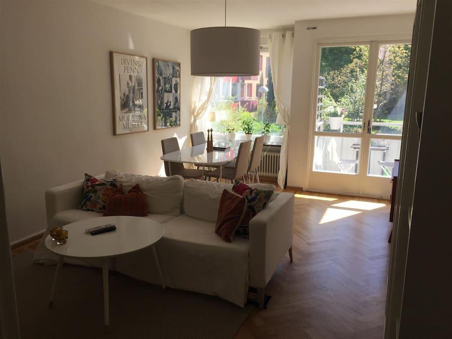 very light livingroom with the cosy balcony