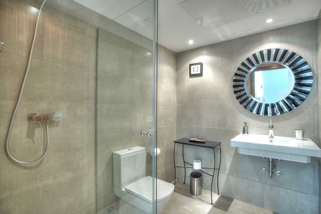Adjacent shower room with large mirror