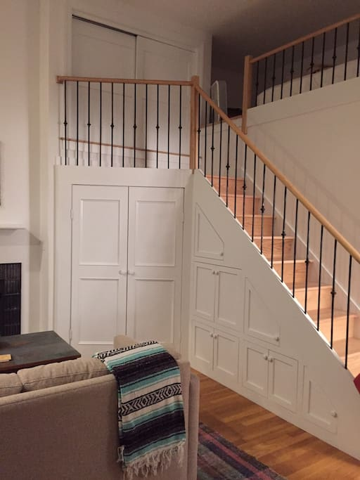 Stairs to lofted bed area (need to be able to scoot up into the bed area) and empty guest closet.