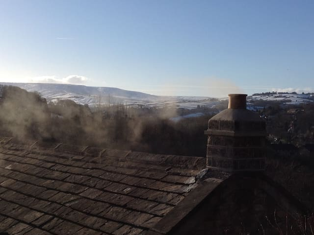 The view onto Holme Moss looking across our roof.