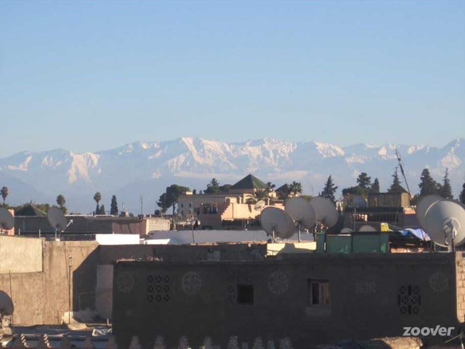 View of the Atlas mountains from the riad's terrace.