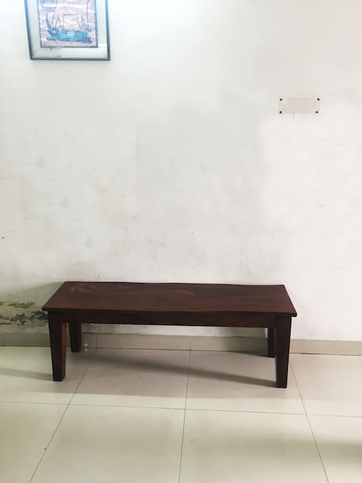 A bench outside your room.