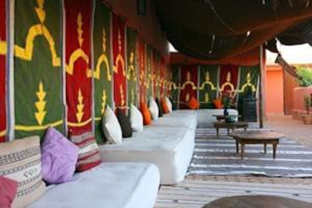 The traditional Berber tent on the terrace - perfect to relax with a glass of mint tea.