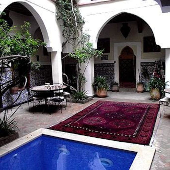 The central traditional courtyard and pool.