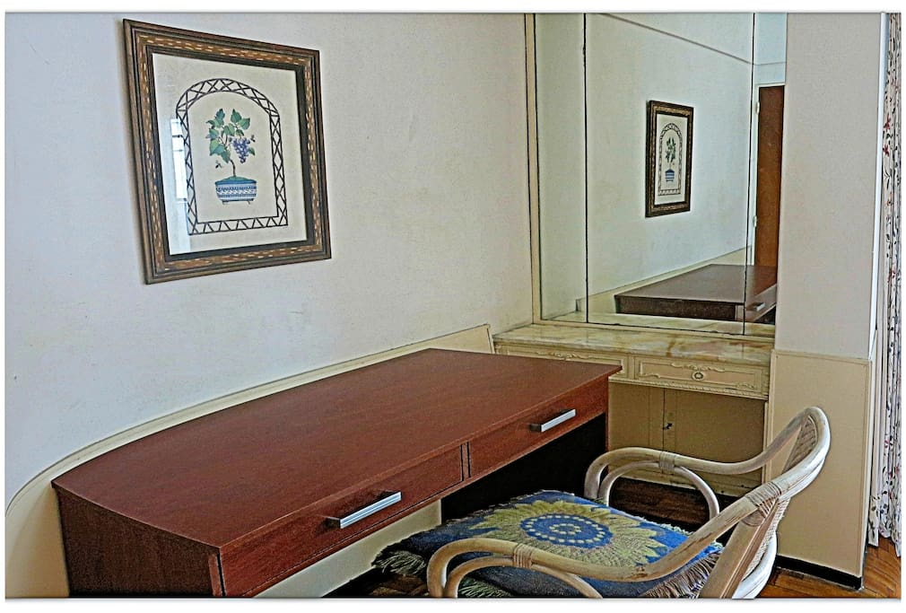 Study table desk on the bedroom. 3 Big wardrobes and  safe security box. Wi-fi. Air Conditioning and heating control. Security Lock. Safe Security Box.