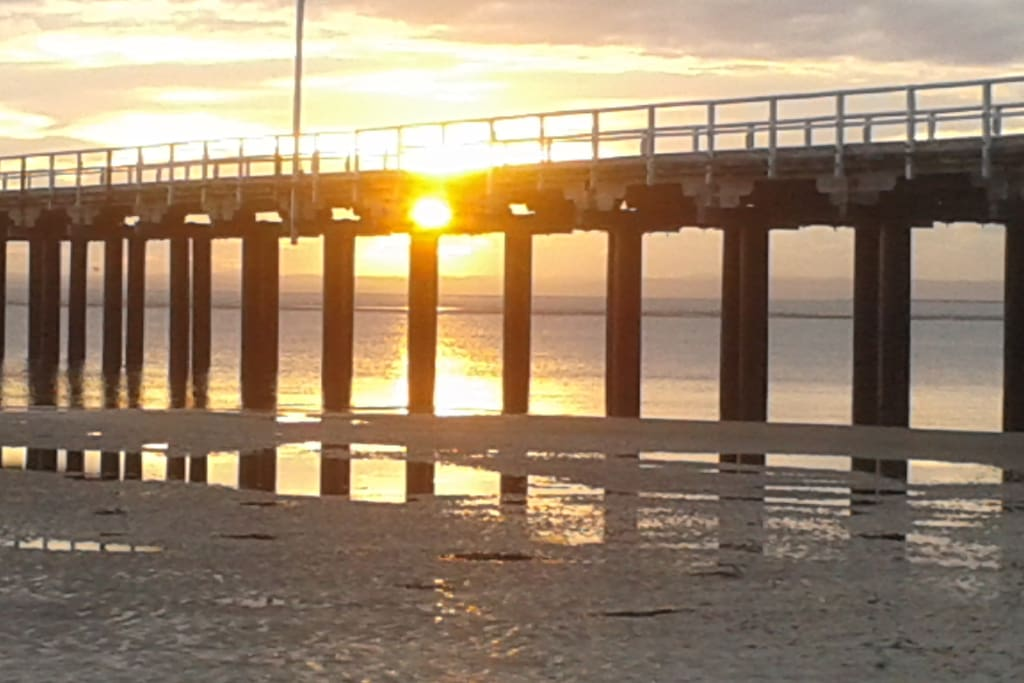 The Urangan jetty.  (5 minutes drive away). They do a lot of fishing from here.