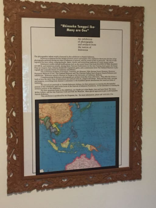 Hand-carved Balinese frame and map of Indonesia