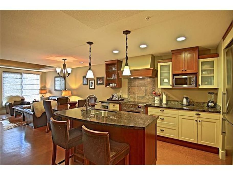 Full kitchen with high end appliances,  granite countertops, and wine fridge