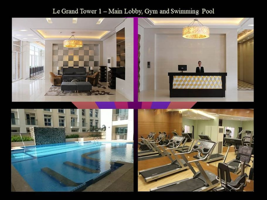 The main lobby, swimming pool and gym