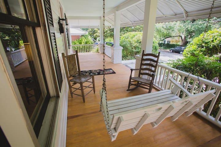 Enjoy a big front porch on a quiet street.