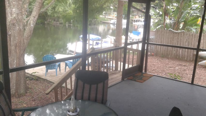 The screened patio overlooking the water!