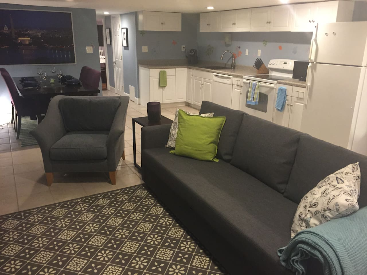 Lounge Area with Full Size Pullout Sofa and