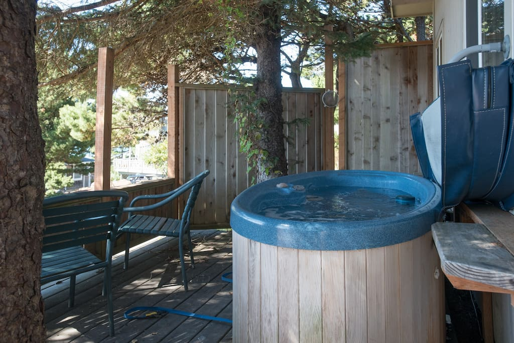 Hot Tub for Two, tucked into a private corner of the deck.