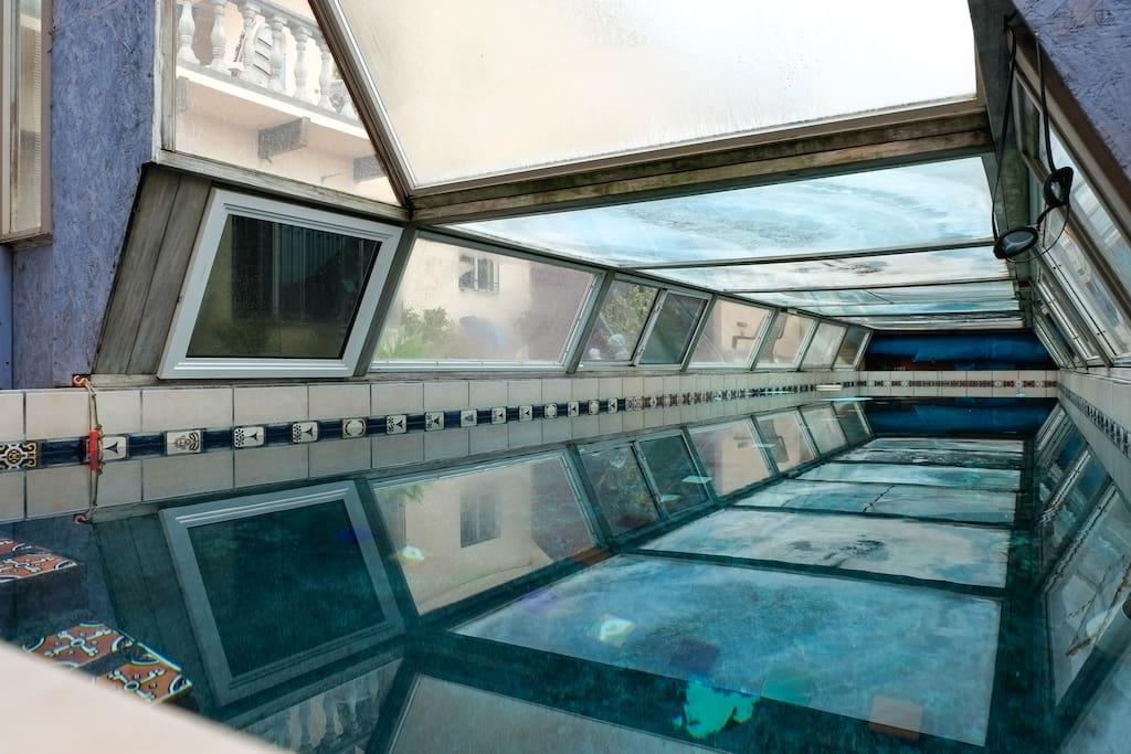 Enclosed, heated lap pool