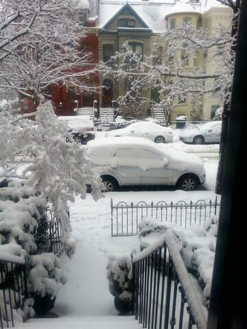 Winter, looking out front door