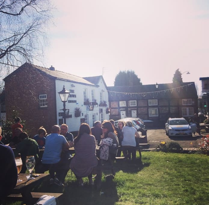The pub 1 minutes walk away up the cobbles it is very popular and serves good food.