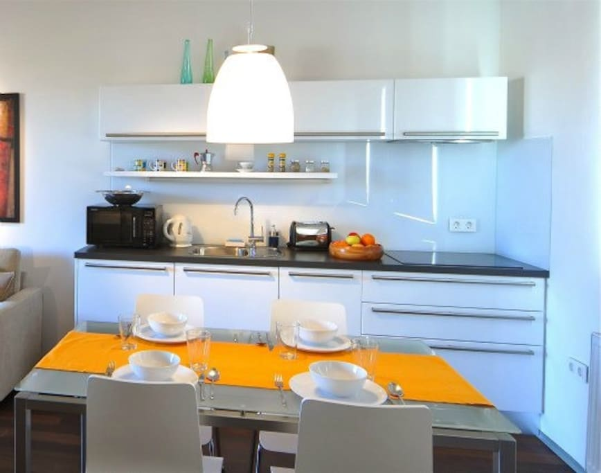 The dully equipped shiny and new kitchen with everything one needs