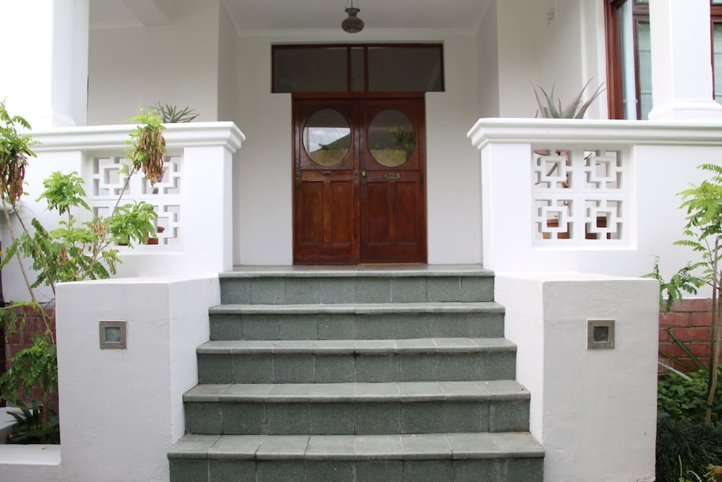 Steps leading up to the front door and verandah.